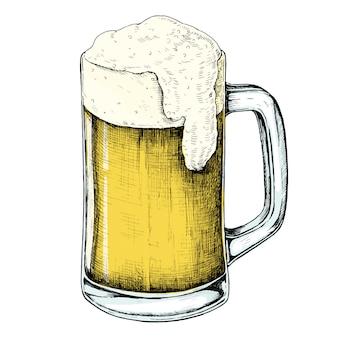 Boisson alcoolisée de bière dessinés à la main