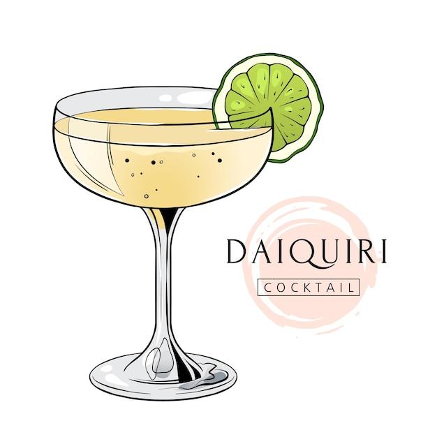 Boisson alcoolisée dessinée à la main cocktail daiquiri avec tranche de citron vert