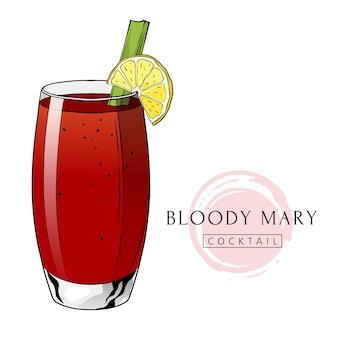 Boisson alcoolisée tirée par la main de cocktail de bloody mary avec la tranche de citron et le céleri