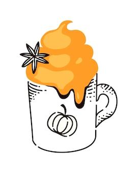 Boisson au café au lait chaud aux épices de citrouille sur fond blanc
