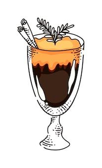 Boisson au café chaud dans une tasse en verre isolé sur fond blanc