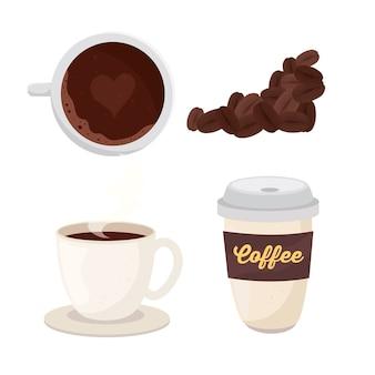 Boisson au café avec conception d'illustration set icônes