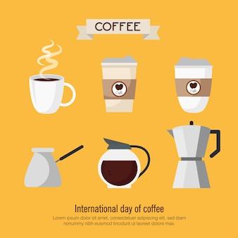 Boisson au café avec des icônes sur la conception d'illustration jaune