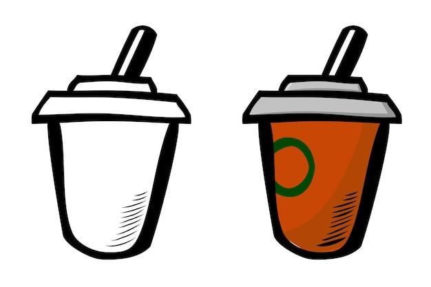 Boisson au chocolat, croquis de dessin à la main simple de vecteur doodle
