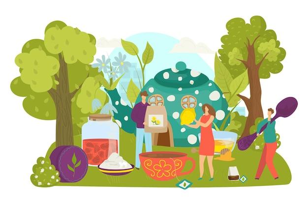 Boisson au thé pour les gens, illustration vectorielle. un petit personnage de femme plate fait une boisson chaude dans une tasse, une personne tient une cuillère, un sachet de thé, du citron. cérémonie près d'une énorme théière, de la confiture sucrée et du miel en plein air.