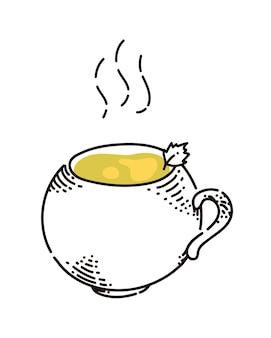 Boisson chaude au thé aromatique fumant dans une tasse isolée sur blanc