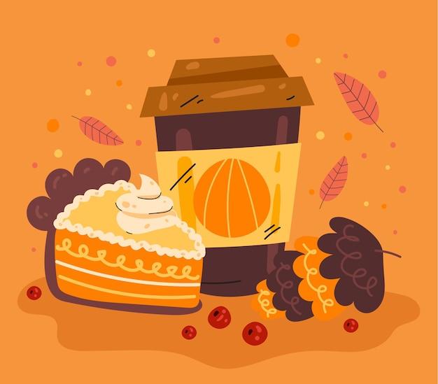 Boisson chaude d'automne avec illustration de conception graphique plate de carte d'élément de conception de tarte à la citrouille