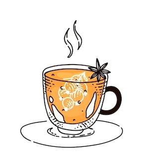 Boisson chaude de thé de baies dans la tasse en verre sur la soucoupe d'isolement sur le blanc