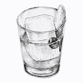 Boisson cocktail dessinée à la main