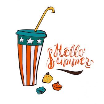 Boisson glacée d'été en style cartoon, modèle pour affiche