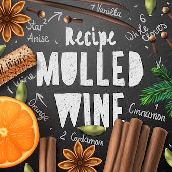 Boisson de noël vin chaud, fait maison de boisson et ingrédients, illustration vectorielle.