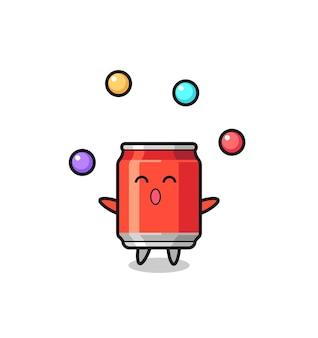 La boisson peut dessin animé de cirque jonglant avec une balle, design de style mignon pour t-shirt, autocollant, élément de logo