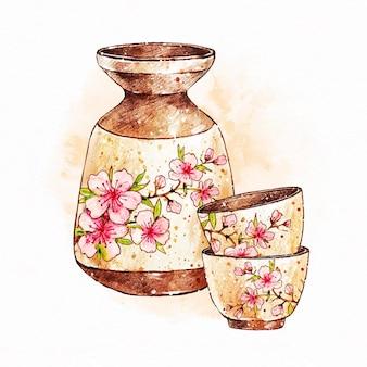 Boisson de saké japonais dans des tasses fleuries