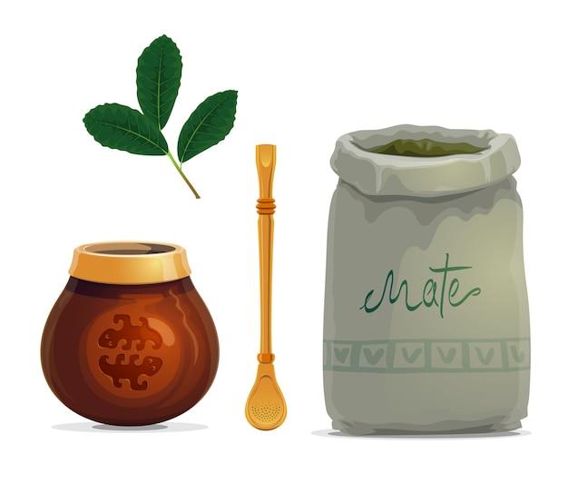 Boisson de thé mate dessin animé de feuilles de plantes yerba mate
