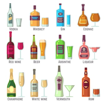Boissons alcoolisées dans des bouteilles et des verres plat vector icons set