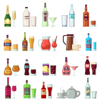 Boissons alcoolisées et non alcoolisées. boissons en verre et bouteilles