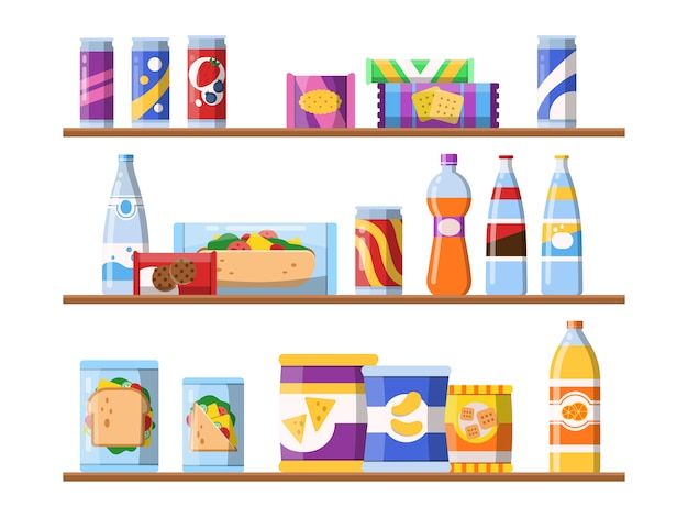 Boissons alimentaires sur les étagères. restauration rapide, biscuits, biscuits et eau, debout, sur, vitrine, merchandising, illustrations, plat