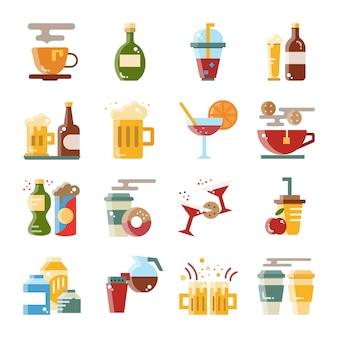 Boissons et boissons design plat