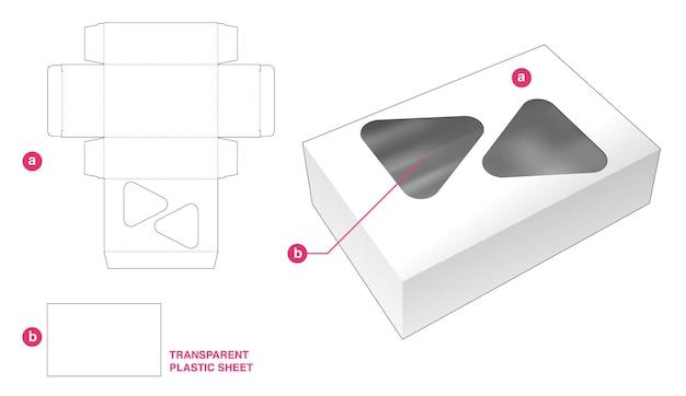 Boîte et 2 fenêtres triangulaires avec gabarit de découpe en feuille de plastique transparent