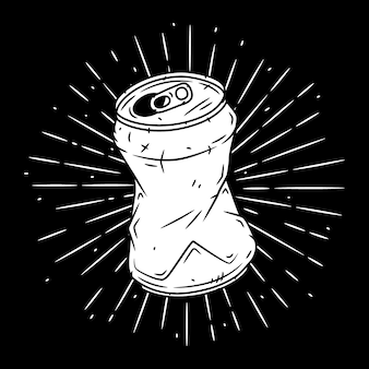 Boîte en aluminium. illustration dessinée à la main avec une boîte en aluminium et des rayons divergents.