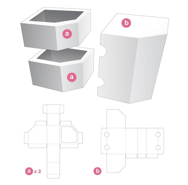 Boîte d'angle double chanfreiné avec couvercle gabarit découpé