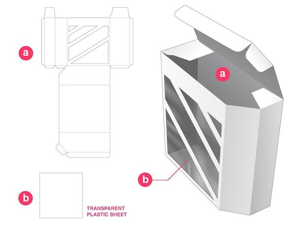 Boîte d'angle et fenêtre avec gabarit de découpe en feuille de plastique transparent