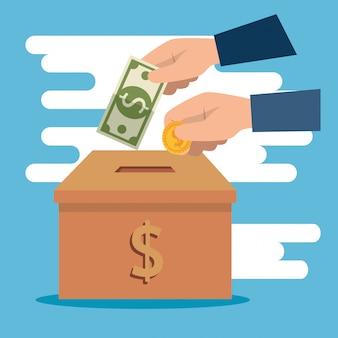 Boîte avec de l'argent pour un don de charité