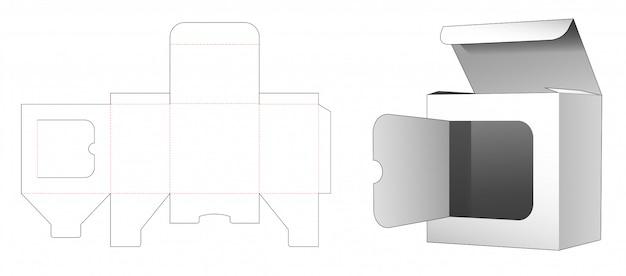 Boîte au détail avec gabarit de découpe de fenêtre