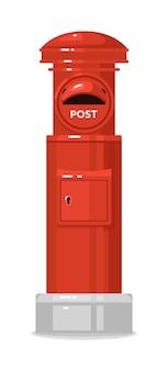 Boîte aux lettres anglaise de rue rouge isolée