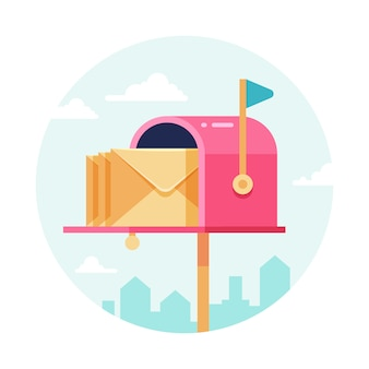 Boîte aux lettres avec enveloppes. boites aux lettres. concept d'envoi et de réception postal