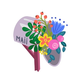 Boîte aux lettres de la ferme avec bouquet de fleurs de pivoine, de roses et de cloches.