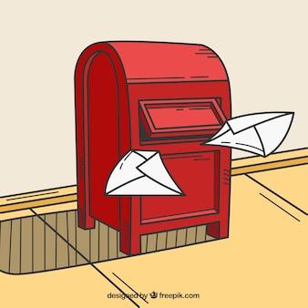 Boîte aux lettres de fond avec des lettres