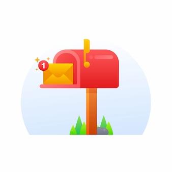 Boîte aux lettres illustration de style dégradé mignon
