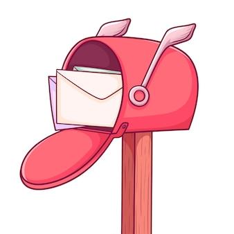 Boîte aux lettres mignon isolé sur blanc