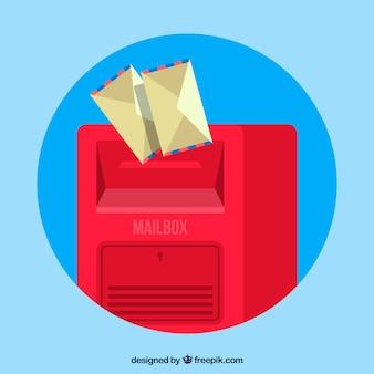 Boîte aux lettres rouge sur fond bleu avec des enveloppes