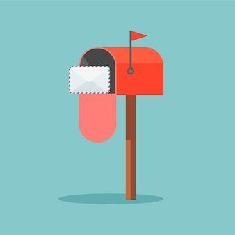 Boîte aux lettres rouge avec des lettres à l'intérieur en style cartoon