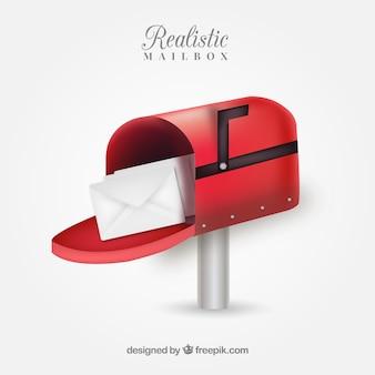Boîte aux lettres rouge réaliste