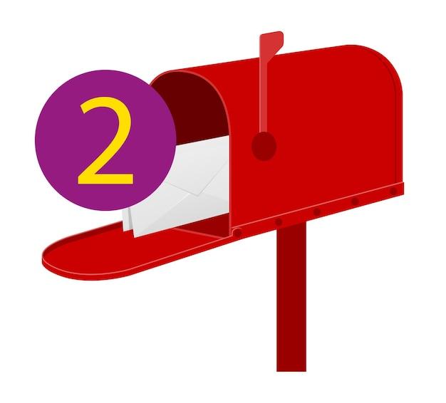 Boîte aux lettres rouge vintage rétro sur blanc