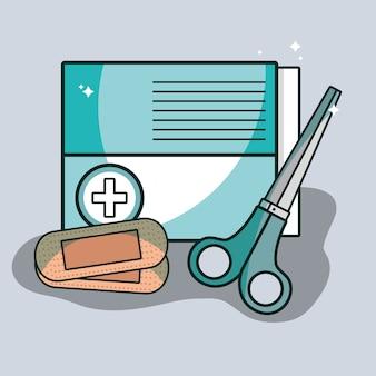 Boîte de bande d'aide avec des outils de pharmacie de ciseaux