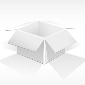 Boîte blanche ouverte pour les colis, les cadeaux.