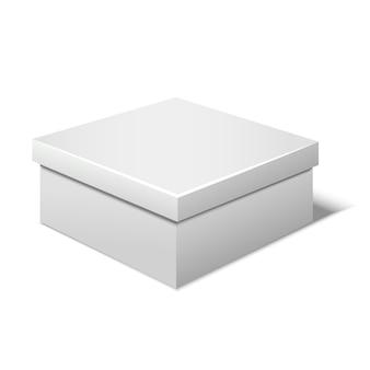 Boîte blanche vierge de modèle réaliste pour un cadeau ou une maquette vide présente. illustration vectorielle