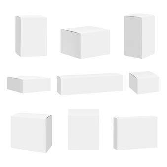 Boîte blanche vierge. paquets contenant des boîtes quadrate détaillées