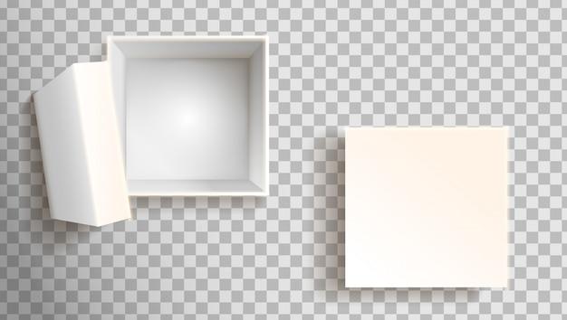 Boîte blanche en vue de face. ouvert et fermé