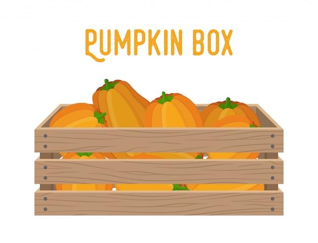 Boîte en bois avec citrouilles