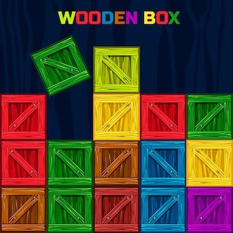 Boîte en bois de couleurs, élément de jeu