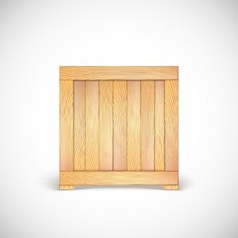 Boite en bois. icône en trois dimensions.