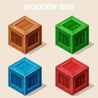 Boîte en bois isométrique colorée