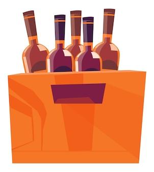 Boîte en bois pour bouteilles avec boissons alcoolisées