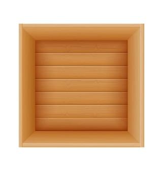 Boîte en bois pour la livraison et le transport de marchandises en illustration de dessin animé en bois isolé sur fond blanc