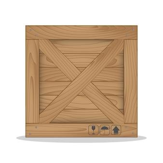 Boîte en bois et symbole fragile
